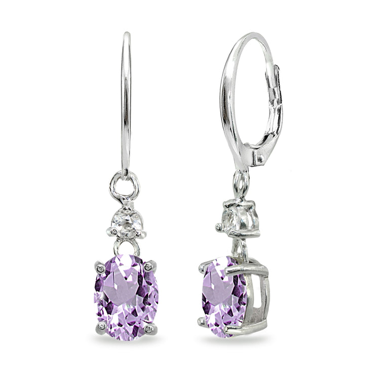 Sterling Silver Amethyst & White Topaz 8x6mm Oval Dangle Leverback Earrings
