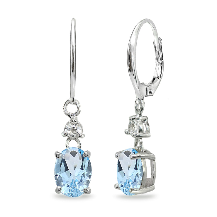 Sterling Silver Blue & White Topaz 8x6mm Oval Dangle Leverback Earrings