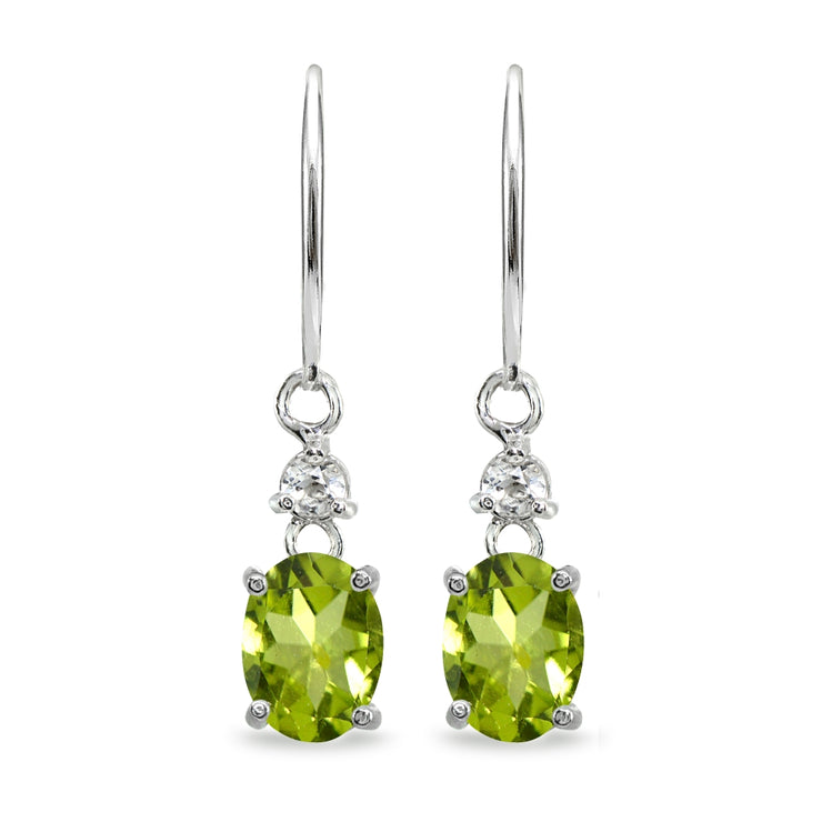 Sterling Silver Peridot & White Topaz 8x6mm Oval Dangle Leverback Earrings