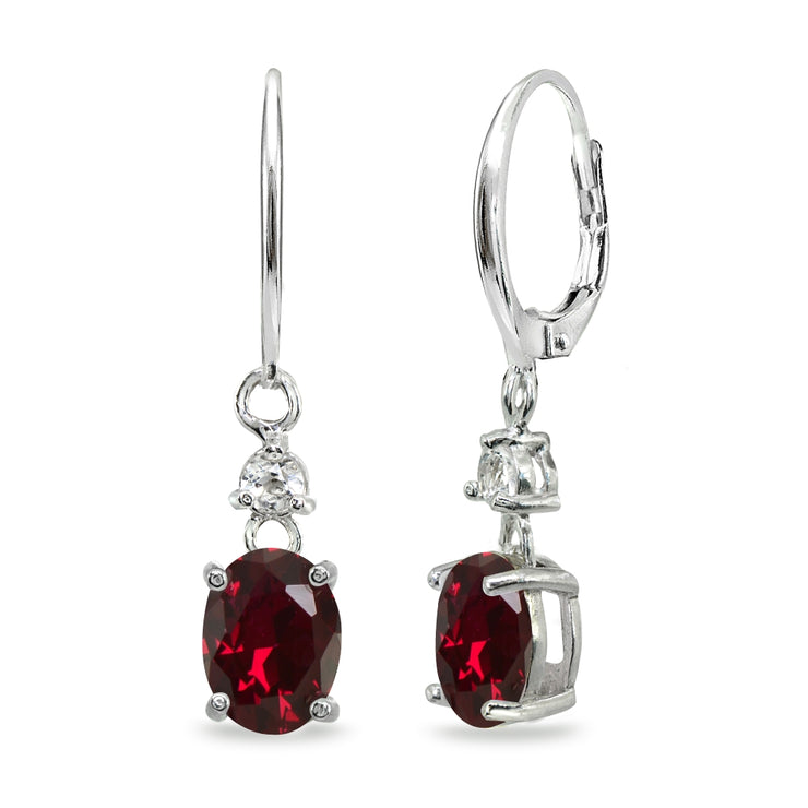 Sterling Silver Created Ruby & White Topaz 8x6mm Oval Dangle Leverback Earrings