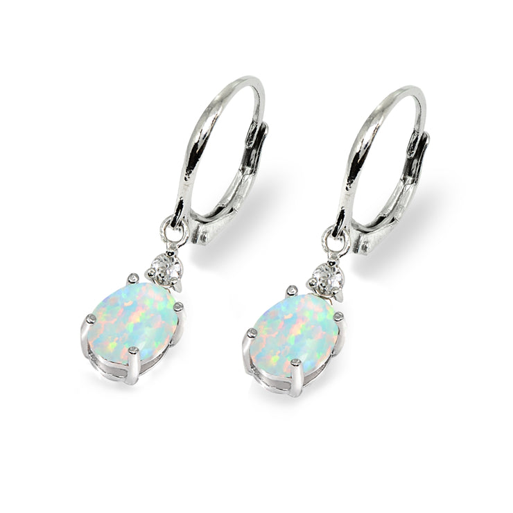 Sterling Silver Created White Opal & Topaz 8x6mm Oval Dangle Leverback Earrings