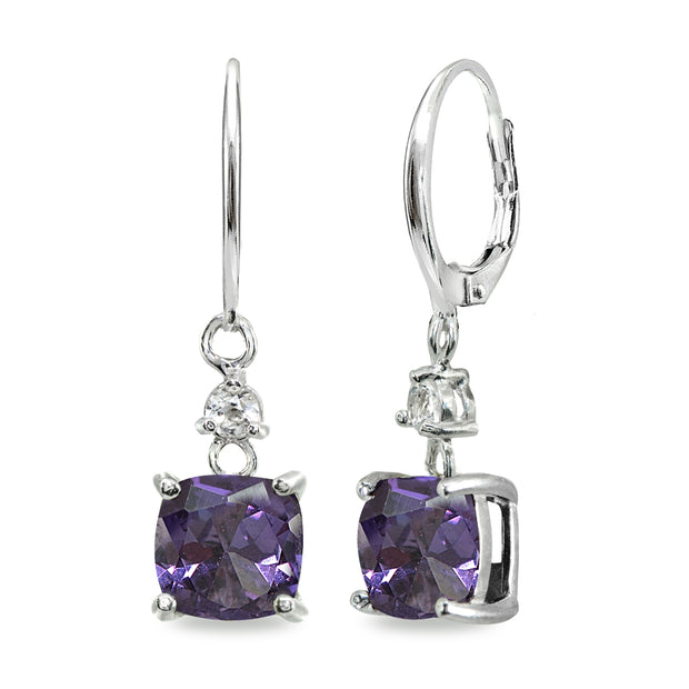 Sterling Silver Simulated Alexandrite & White Topaz 7mm Cushion-cut Dangle Leverback Earrings