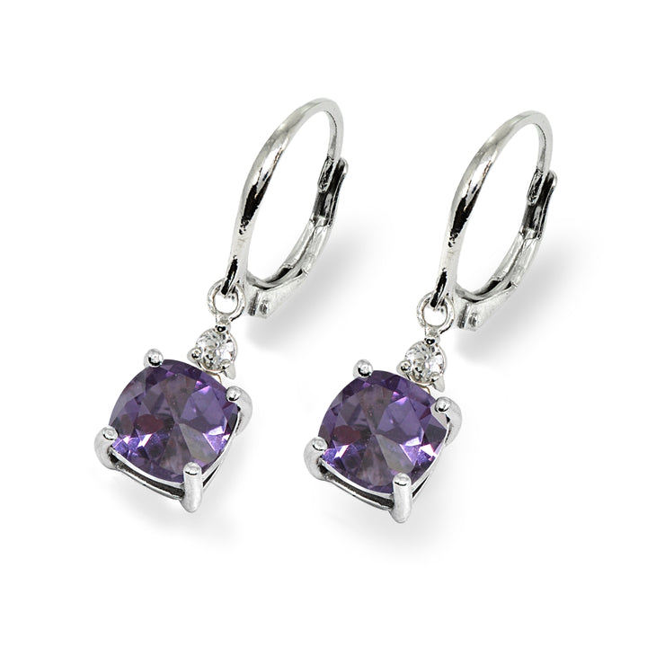 Sterling Silver Created Alexandrite & White Topaz 7mm Cushion-cut Dangle Leverback Earrings