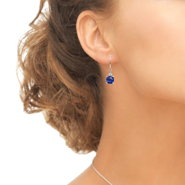 Sterling Silver Created Blue Sapphire & White Topaz 7mm Cushion-cut Dangle Leverback Earrings