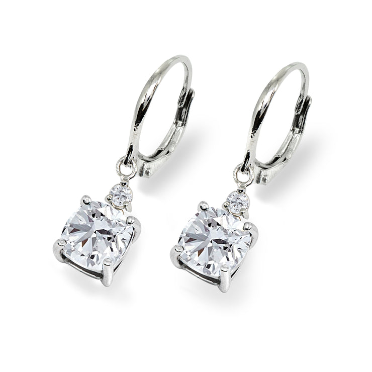 Sterling Silver Cubic Zirconia 7mm Cushion-cut Dangle Leverback Earrings