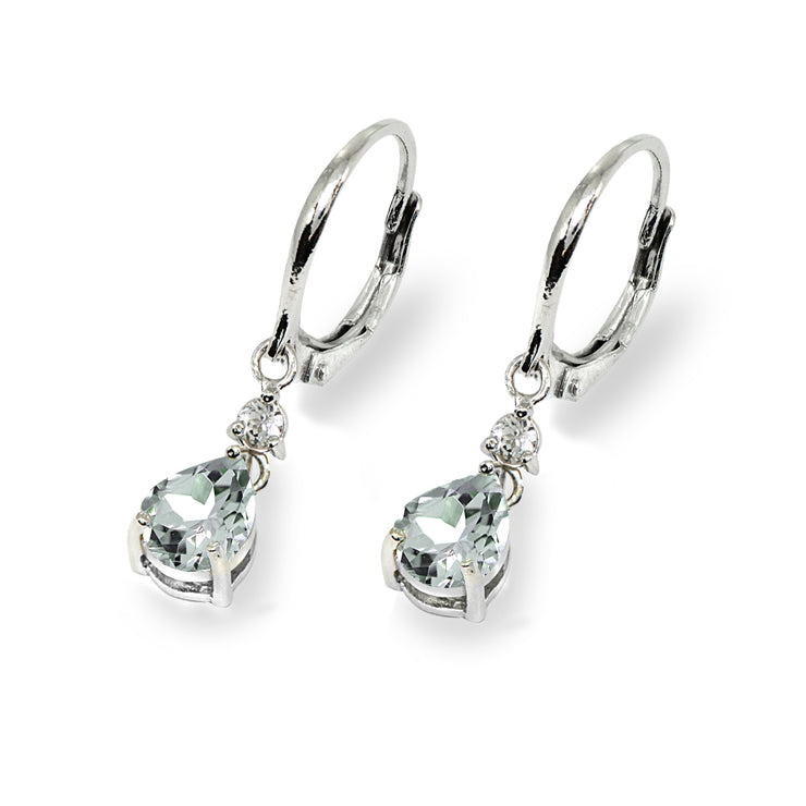 Sterling Silver Light Aqumarine & White Topaz 8x6mm Teardrop Dangle Leverback Earrings
