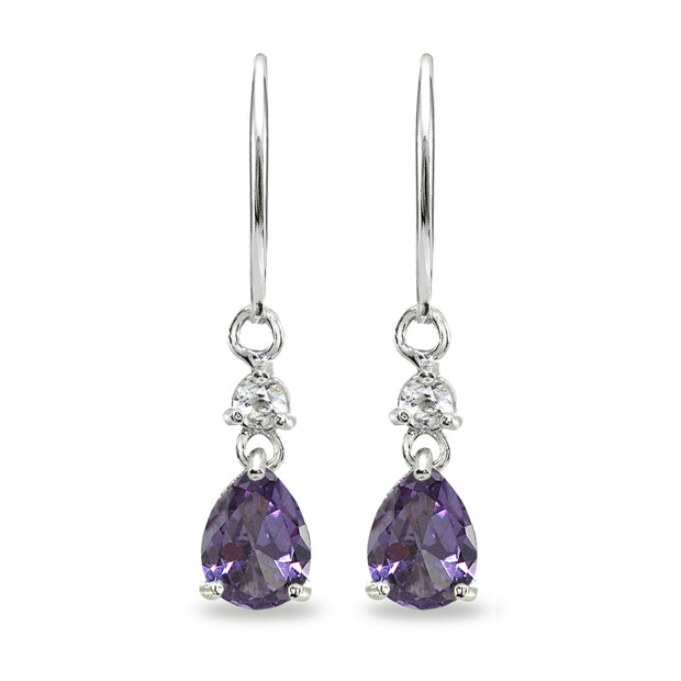 Sterling Silver Simulated Alexandrite & White Topaz 8x6mm Teardrop Dangle Leverback Earrings