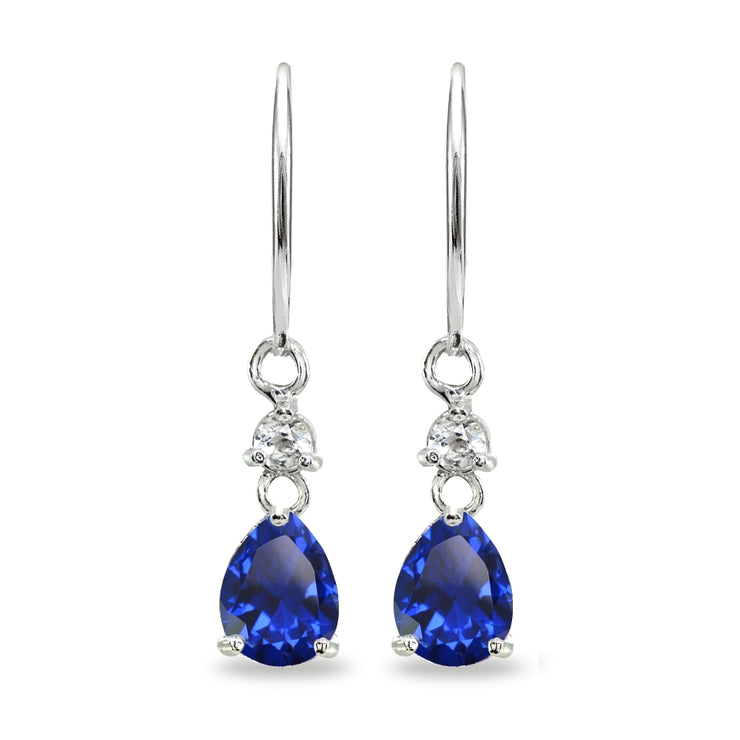 Sterling Silver Created Blue Sapphire & White Topaz 8x6mm Teardrop Dangle Leverback Earrings
