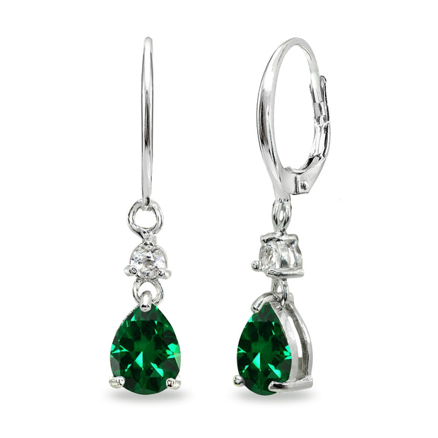 Sterling Silver Created Emerald & White Topaz 8x6mm Teardrop Dangle Leverback Earrings