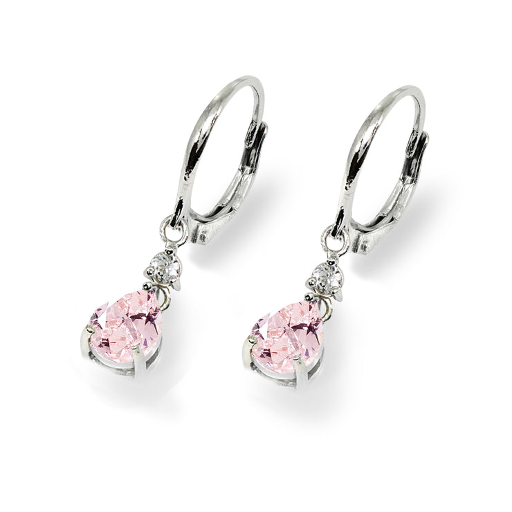 Sterling Silver Created Morganite & White Topaz 8x6mm Teardrop Dangle Leverback Earrings