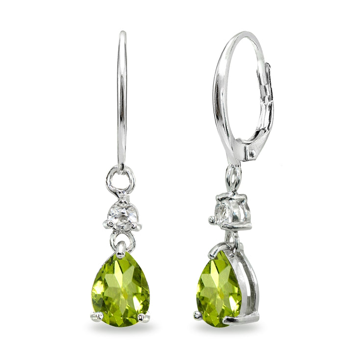 Sterling Silver Peridot & White Topaz 8x6mm Teardrop Dangle Leverback Earrings