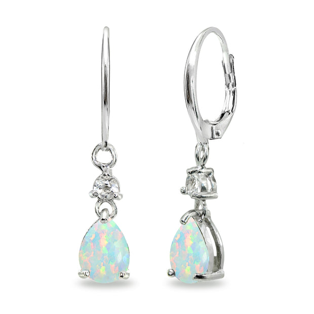 Sterling Silver Created White Opal & Topaz 8x6mm Teardrop Dangle Leverback Earrings
