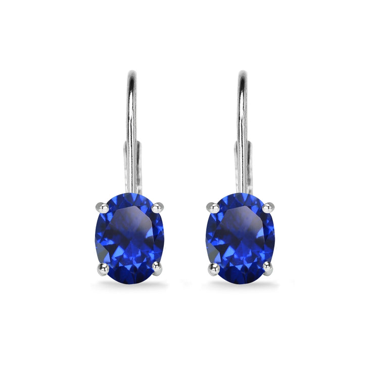 Sterling Silver Created Blue Sapphire 7x5mm Oval Solitaire Dainty Leverback Earrings