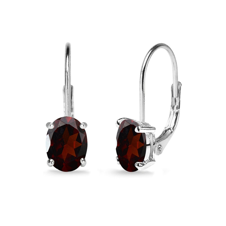 Sterling Silver Garnet 7x5mm Oval Solitaire Dainty Leverback Earrings