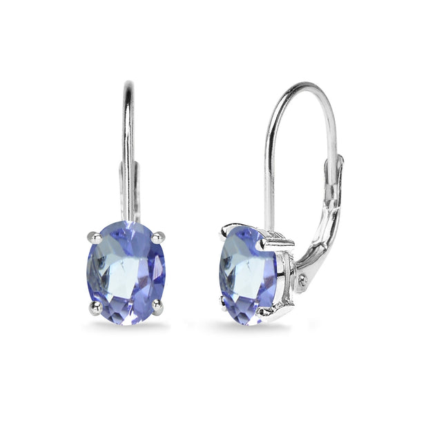Sterling Silver Created Tanzanite 7x5mm Oval Solitaire Dainty Leverback Earrings