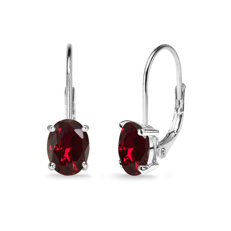 Sterling Silver Created Ruby 7x5mm Oval Solitaire Dainty Leverback Earrings