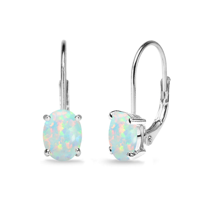Sterling Silver Created White Opal 7x5mm Oval Solitaire Dainty Leverback Earrings