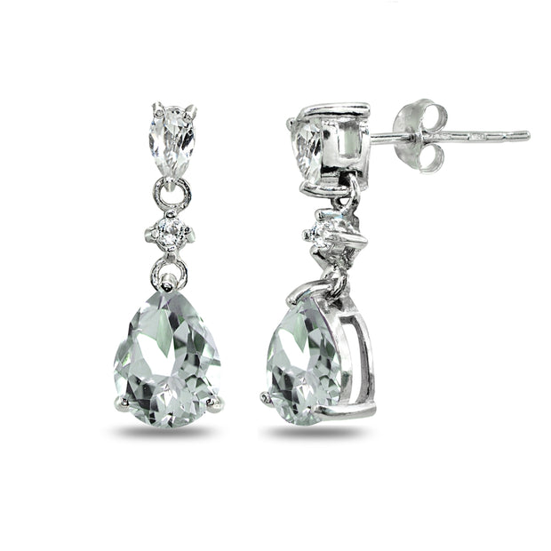 Sterling Silver Light Aquamarine & White Topaz Pear-Cut Teardrop Dangling Stud Earrings