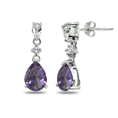 Sterling Silver Simulated Alexandrite & White Topaz Pear-Cut Teardrop Dangling Stud Earrings