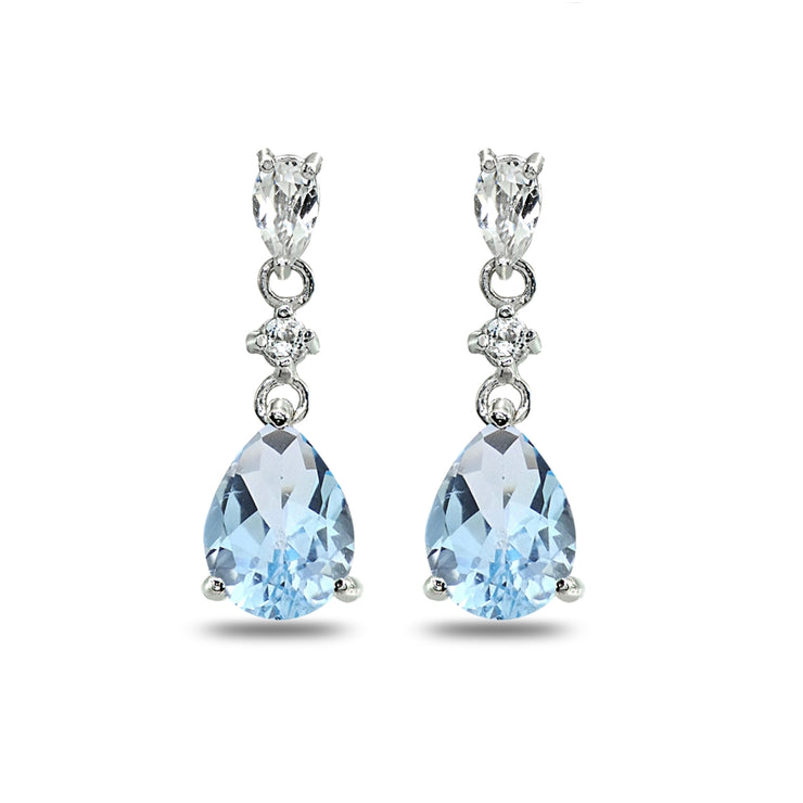 Sterling Silver Blue Topaz & White Topaz Pear-Cut Teardrop Dangling Stud Earrings