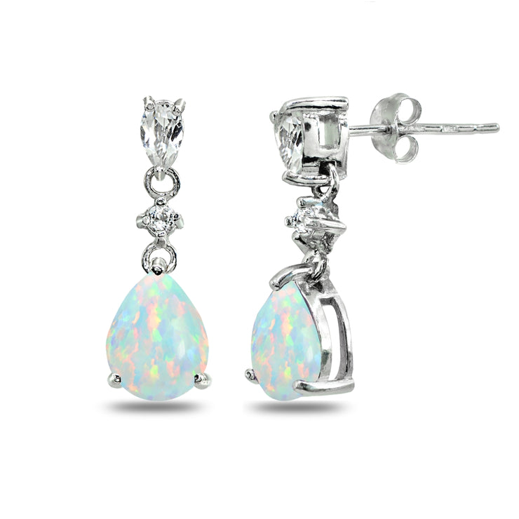 Sterling Silver Created White Opal & White Topaz Pear-Cut Teardrop Dangling Stud Earrings