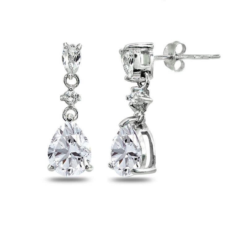 Sterling Silver Cubic Zirconia Pear-Cut Teardrop Dangling Stud Earrings