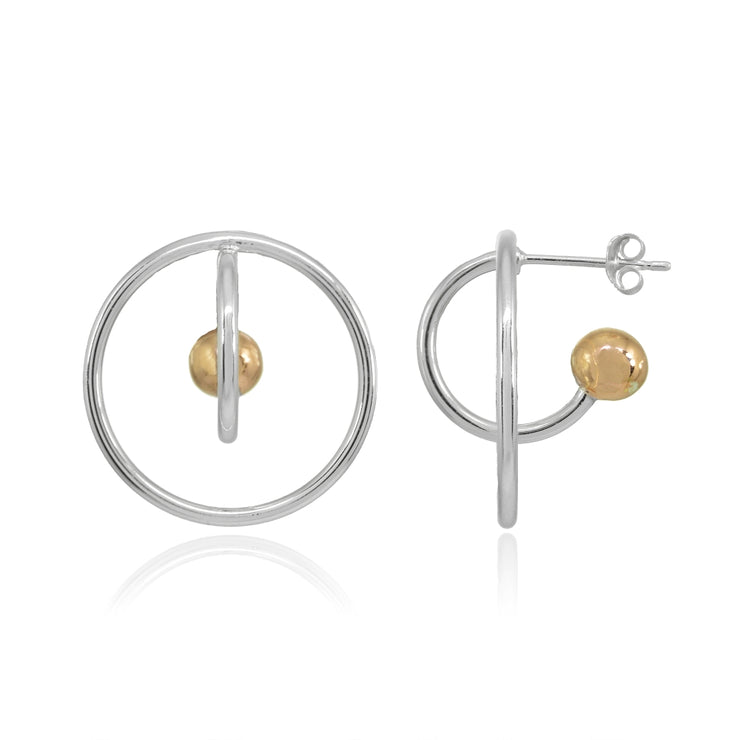 Two-Tone Rose Gold Flashed Sterling Silver Open Circle Bead Round Earrings