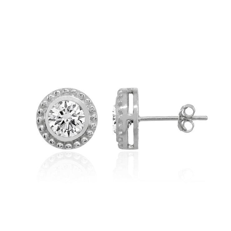 Sterling Silver Polished Cubic Zirconia Bezel-Set Round Stud Earrings