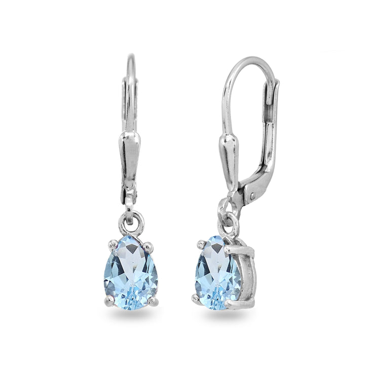 Sterling Silver Blue Topaz 7x5mm Pear-Cut Teardrop Drop Dangle Leverback Earrings