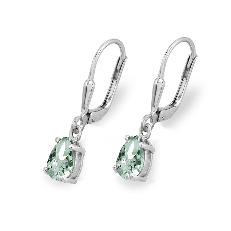 Sterling Silver Green Amethyst 7x5mm Pear-Cut Teardrop Drop Dangle Leverback Earrings