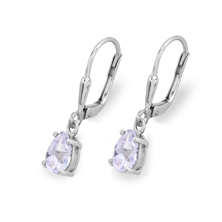 Sterling Silver Light Amethyst 7x5mm Pear-Cut Teardrop Drop Dangle Leverback Earrings
