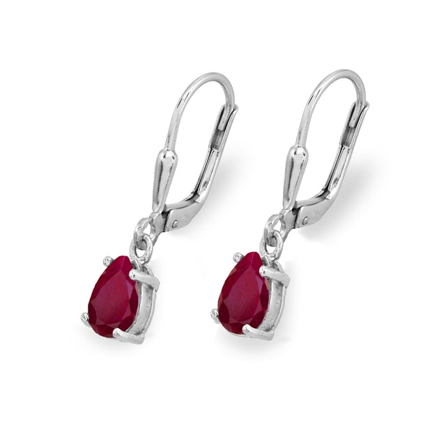 Sterling Silver Ruby 7x5mm Pear-Cut Teardrop Drop Dangle Leverback Earrings