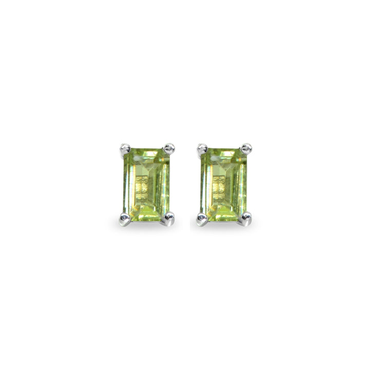 Sterling Silver Peridot 5x3mm Emerald-Cut Solitaire Stud Earrings