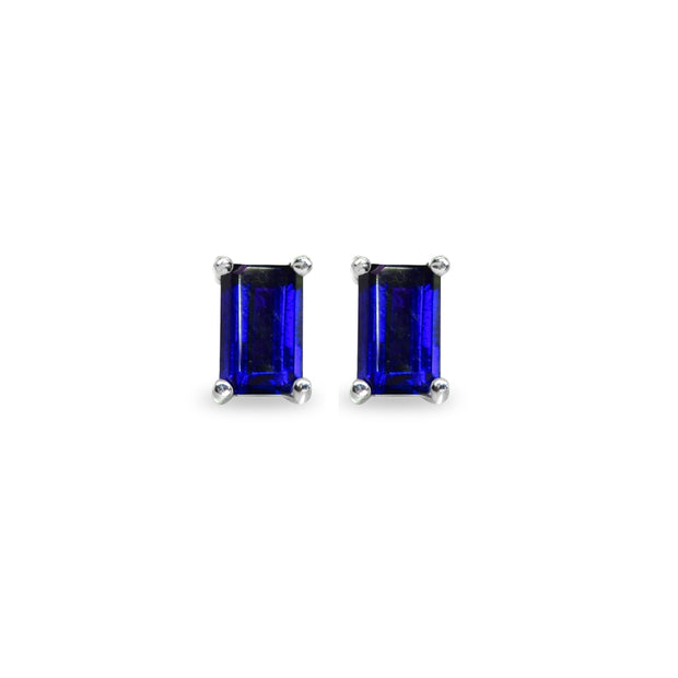 Sterling Silver Sapphire 5x3mm Emerald-Cut Solitaire Stud Earrings