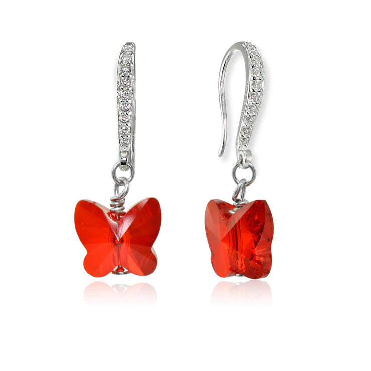 Sterling Silver Ruby Red Butterfly Dangle Earrings Made with Swarovski Crystals