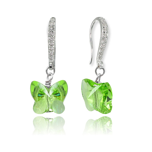 Sterling Silver Light Green Butterfly Dangle Earrings Made with Swarovski Crystals