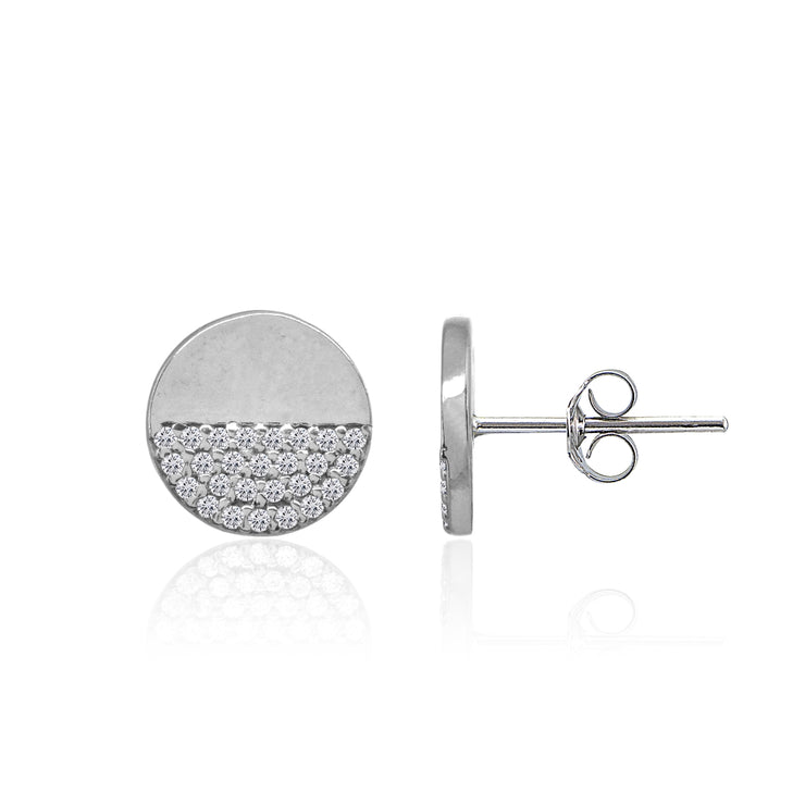 Sterling Silver Polished Round Disk Cubic Zirconia Dainty Stud Earrings