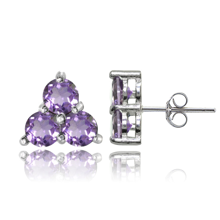 Sterling Silver Three Stone Round Amethyst Cluster Triangle Stud Earrings