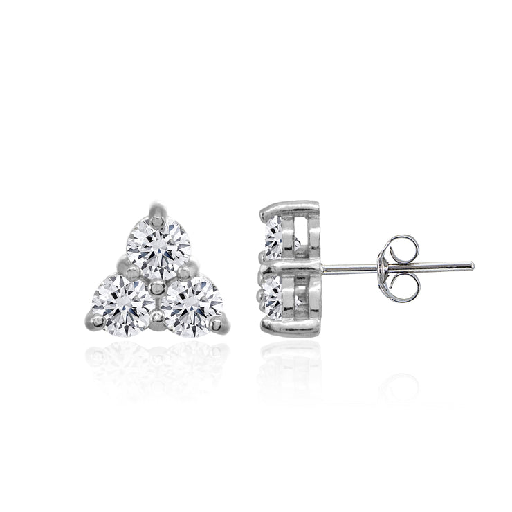 Sterling Silver Three Stone Round Cubic Zirconia Cluster Triangle Stud Earrings