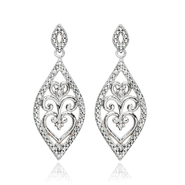 Sterling Silver Polished Filigree Diamond Accent Statement Chandelier Drop Dangle Earrings, JK-I3