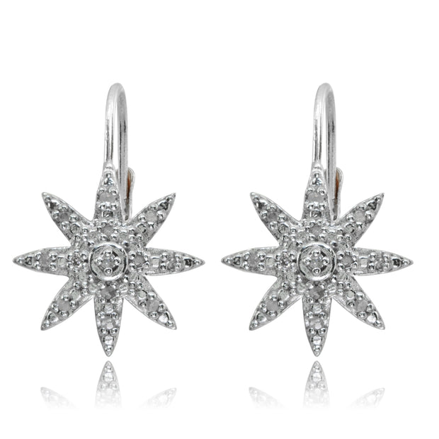 Sterling Silver Polished Snowflake Star Diamond Accent Leverback Earrings, JK-I3