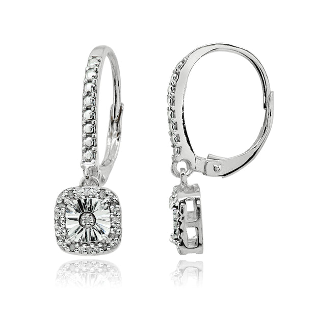 Sterling Silver Polished Square Cushion Diamond Accent Leverback Earrings, JK-I3