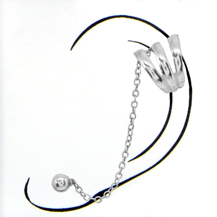 Sterling Silver Polished Small Bead with Spiral Ear Cuff Chain Helix Cartilage Fashion Earring