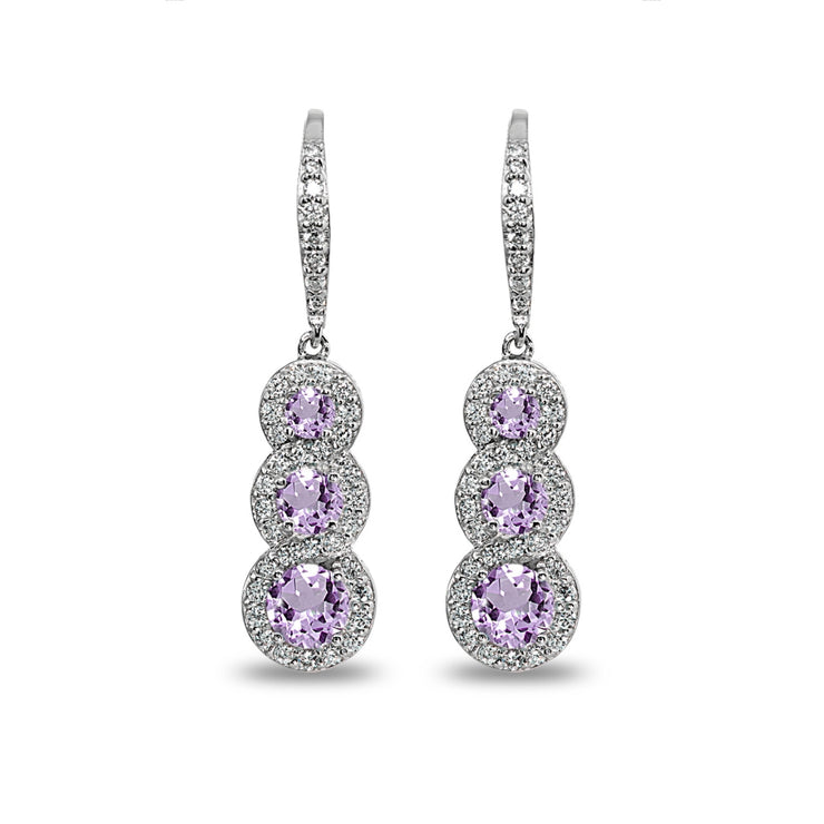 Sterling Silver Amethyst Journey Halo Three-Stone Dangle Leverback Earrings