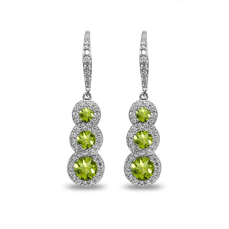 Sterling Silver Peridot Journey Halo Three-Stone Dangle Leverback Earrings