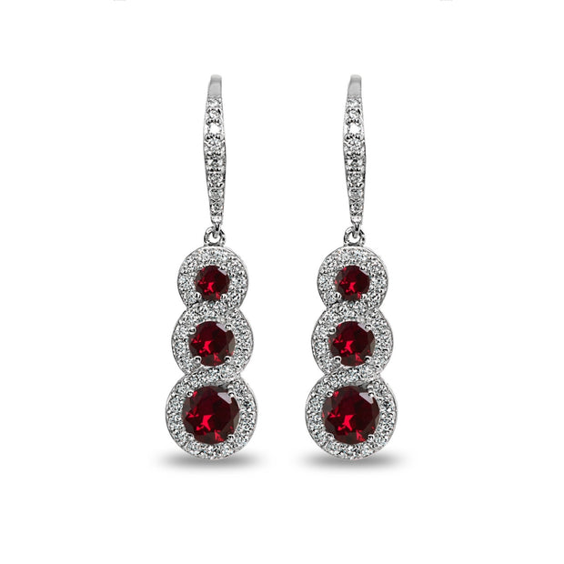 Sterling Silver Created Ruby Journey Halo Three-Stone Dangle Leverback Earrings
