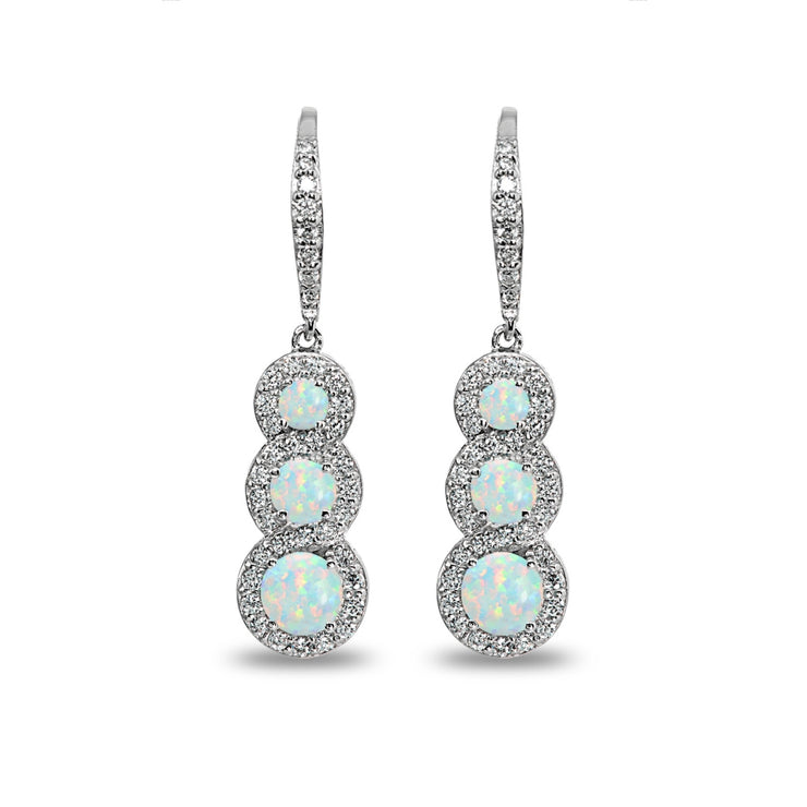Sterling Silver Created White Opal Journey Halo Three-Stone Dangle Leverback Earrings