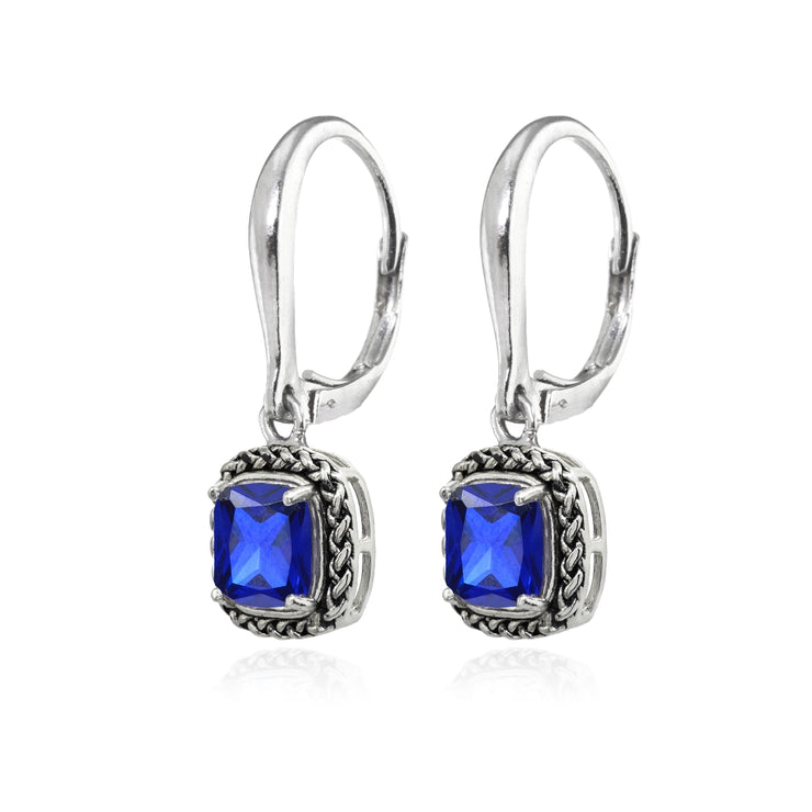 Sterling Silver Created Blue Sapphire Cushion-Cut 7mm Oxidized Braid Dangle Leverback Earrings