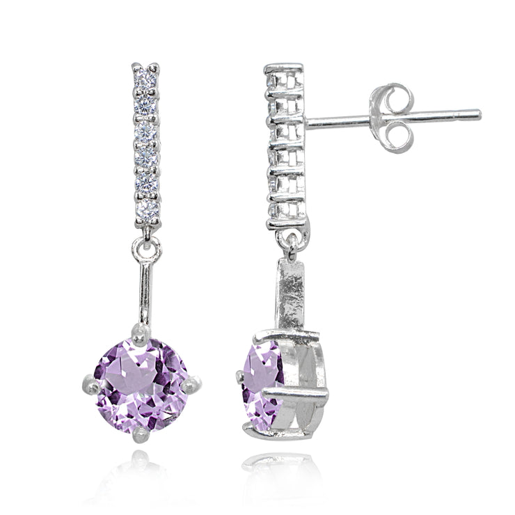 Sterling Silver Amethyst & White Topaz Round Encrusted Bar Dangle Drop Earrings