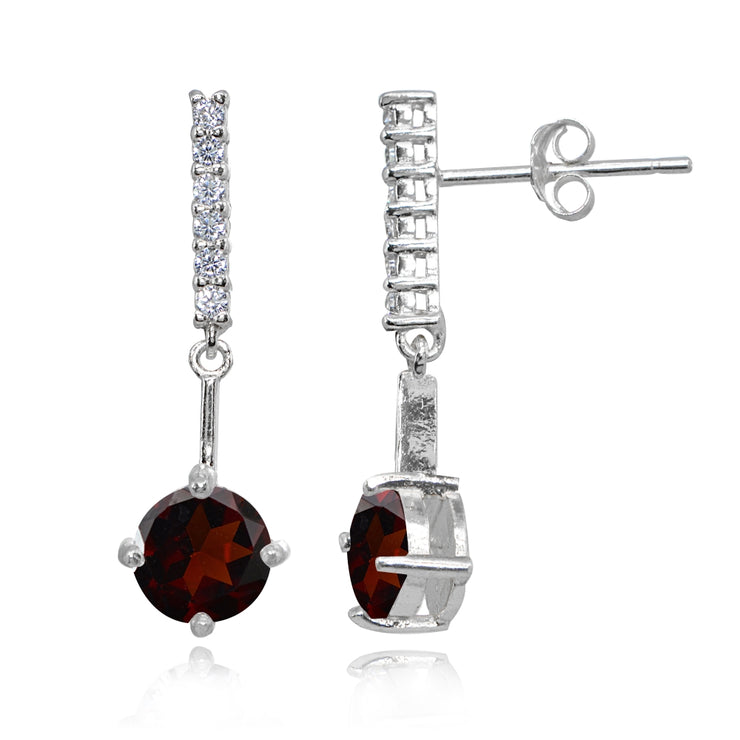 Sterling Silver Garnet & White Topaz Round Encrusted Bar Dangle Drop Earrings
